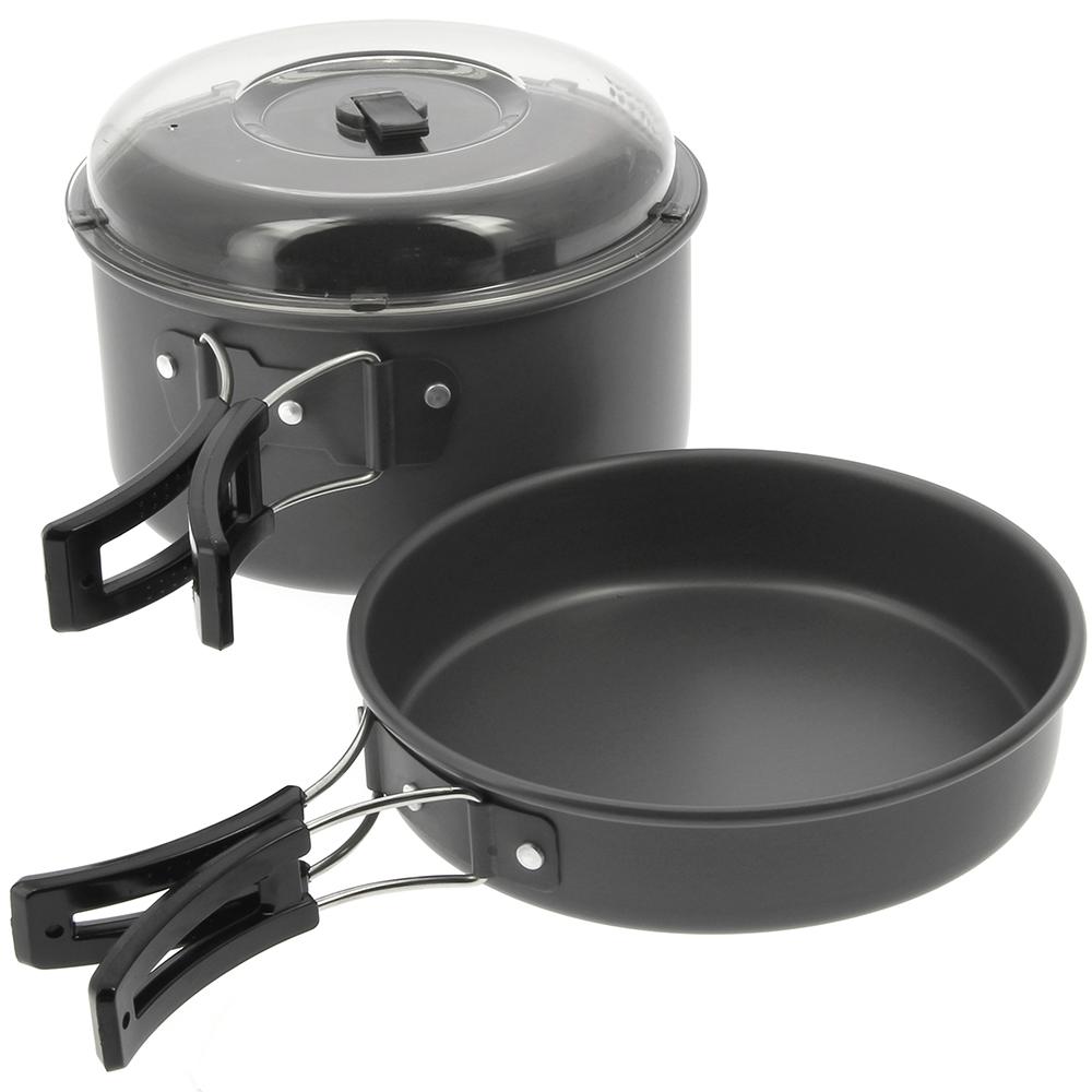 Gun Metal Aluminium Kettle Pot Pan Set Camping Fishing