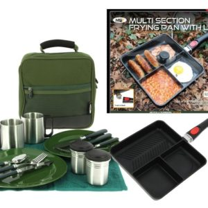 Compact Camping 3 Way Multi Section Frying Pan With Lid